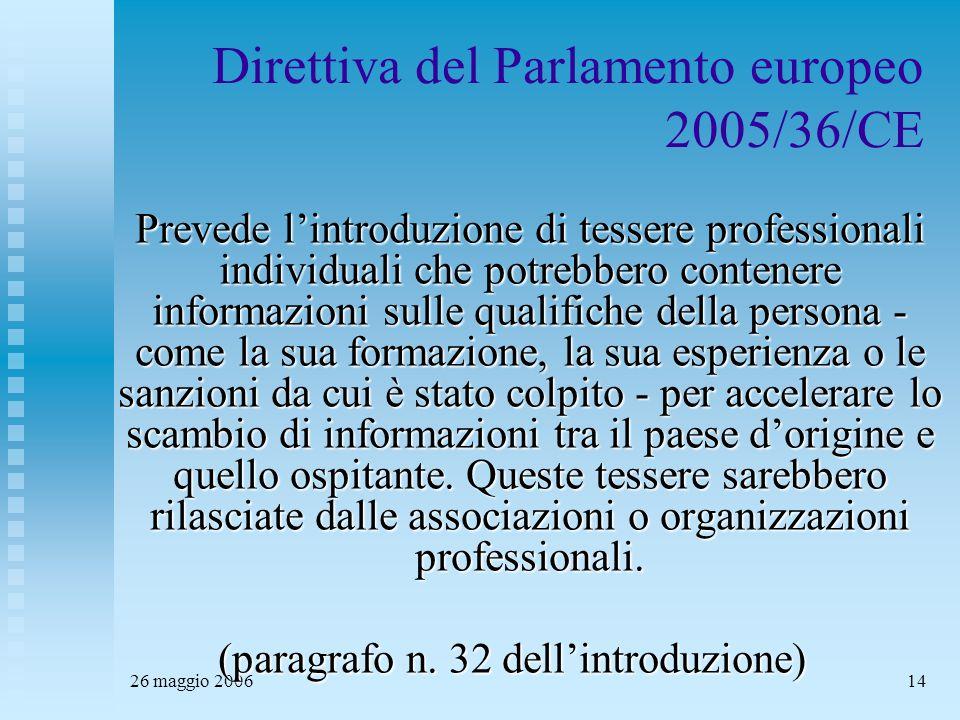 26 maggio 200614 Direttiva del Parlamento europeo 2005/36/CE Prevede l'introduzione di tessere professionali individuali che potrebbero contenere informazioni sulle qualifiche della persona - come la sua formazione, la sua esperienza o le sanzioni da cui è stato colpito - per accelerare lo scambio di informazioni tra il paese d'origine e quello ospitante.