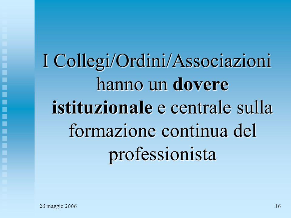 26 maggio 200616 I Collegi/Ordini/Associazioni hanno un dovere istituzionale e centrale sulla formazione continua del professionista