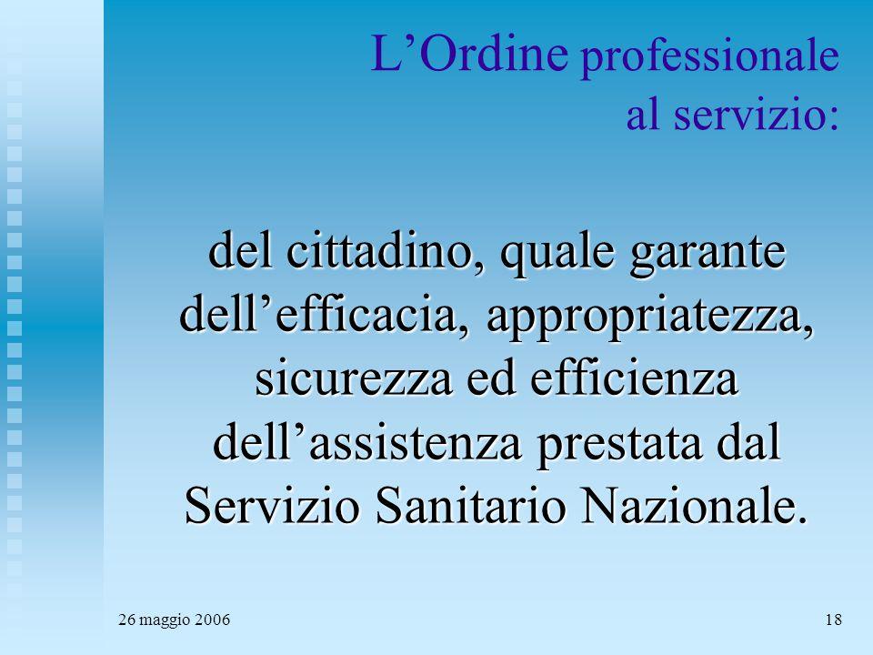 26 maggio 200618 L'Ordine professionale al servizio: del cittadino, quale garante dell'efficacia, appropriatezza, sicurezza ed efficienza dell'assistenza prestata dal Servizio Sanitario Nazionale.