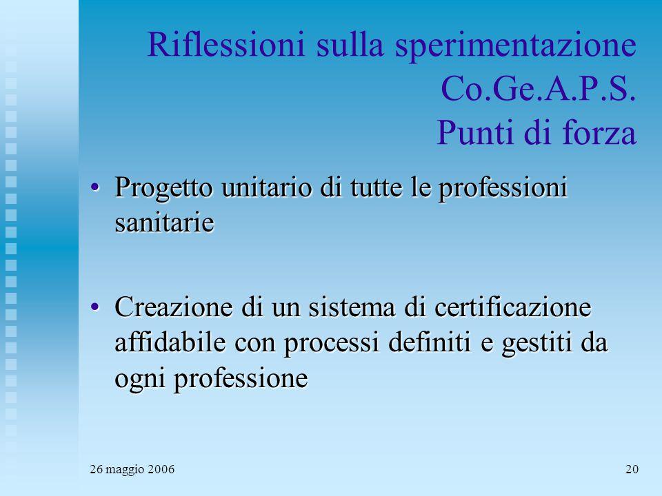 26 maggio 200620 Riflessioni sulla sperimentazione Co.Ge.A.P.S. Punti di forza Progetto unitario di tutte le professioni sanitarieProgetto unitario di