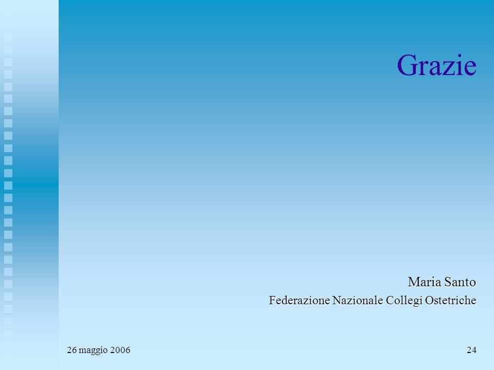 26 maggio 200624 Grazie Maria Santo Federazione Nazionale Collegi Ostetriche