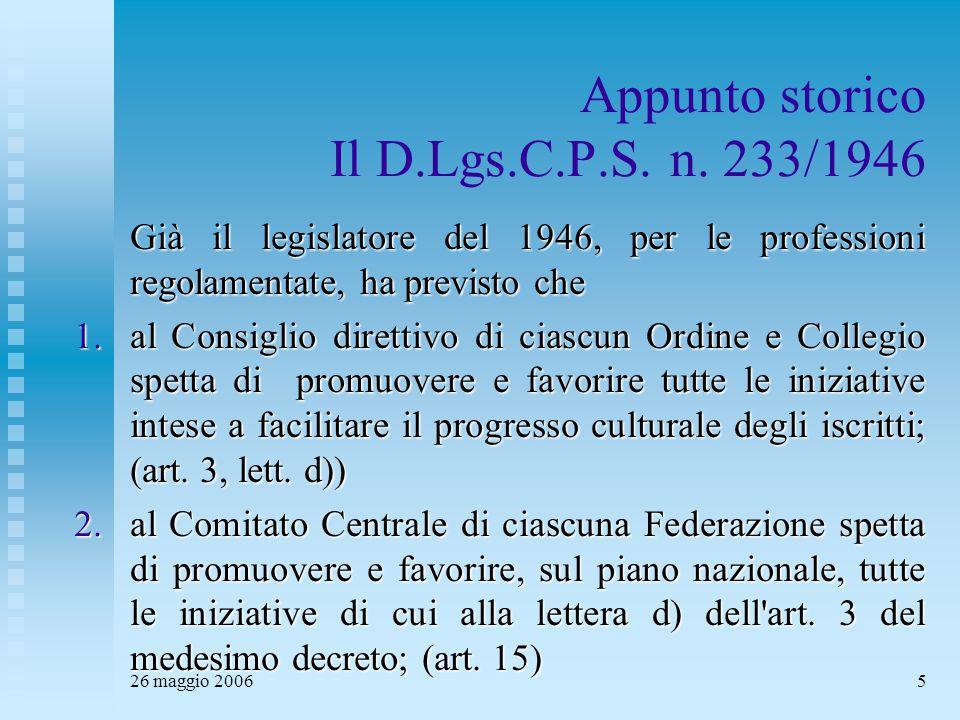 26 maggio 20065 Appunto storico Il D.Lgs.C.P.S. n. 233/1946 Già il legislatore del 1946, per le professioni regolamentate, ha previsto che 1.al Consig