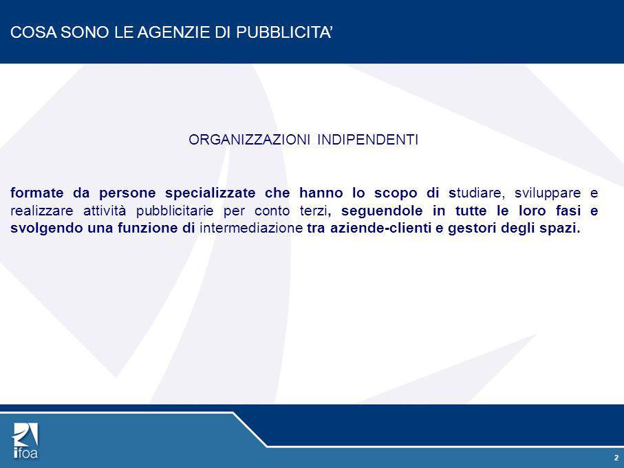 2 COSA SONO LE AGENZIE DI PUBBLICITA' ORGANIZZAZIONI INDIPENDENTI formate da persone specializzate che hanno lo scopo di studiare, sviluppare e realiz