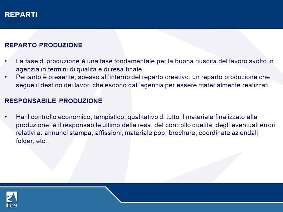 REPARTI REPARTO PRODUZIONE La fase di produzione è una fase fondamentale per la buona riuscita del lavoro svolto in agenzia in termini di qualità e di