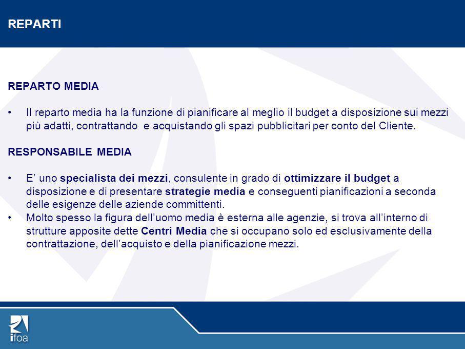 REPARTI REPARTO MEDIA Il reparto media ha la funzione di pianificare al meglio il budget a disposizione sui mezzi più adatti, contrattando e acquistan