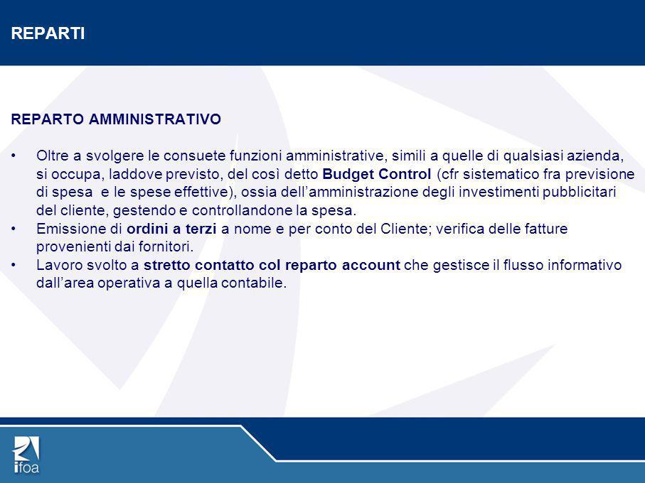 REPARTI REPARTO AMMINISTRATIVO Oltre a svolgere le consuete funzioni amministrative, simili a quelle di qualsiasi azienda, si occupa, laddove previsto