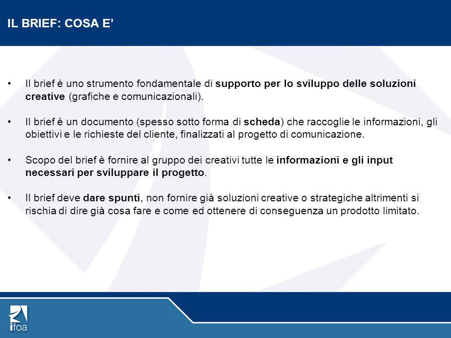 IL BRIEF: COSA E' Il brief è uno strumento fondamentale di supporto per lo sviluppo delle soluzioni creative (grafiche e comunicazionali). Il brief è