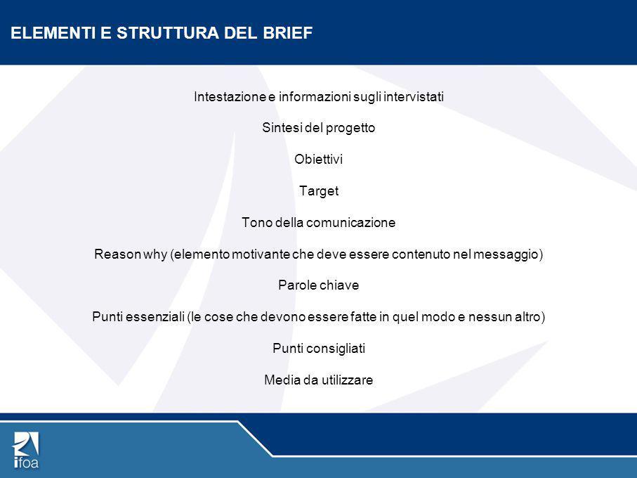 ELEMENTI E STRUTTURA DEL BRIEF Intestazione e informazioni sugli intervistati Sintesi del progetto Obiettivi Target Tono della comunicazione Reason wh