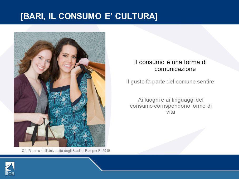 [BARI, IL CONSUMO E' CULTURA] Il consumo è una forma di comunicazione Il gusto fa parte del comune sentire Ai luoghi e ai linguaggi del consumo corris