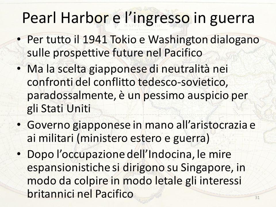 Pearl Harbor e l'ingresso in guerra Per tutto il 1941 Tokio e Washington dialogano sulle prospettive future nel Pacifico Ma la scelta giapponese di ne