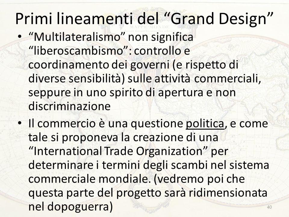 """Primi lineamenti del """"Grand Design"""" """"Multilateralismo"""" non significa """"liberoscambismo"""": controllo e coordinamento dei governi (e rispetto di diverse s"""