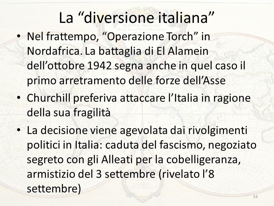 """La """"diversione italiana"""" Nel frattempo, """"Operazione Torch"""" in Nordafrica. La battaglia di El Alamein dell'ottobre 1942 segna anche in quel caso il pri"""