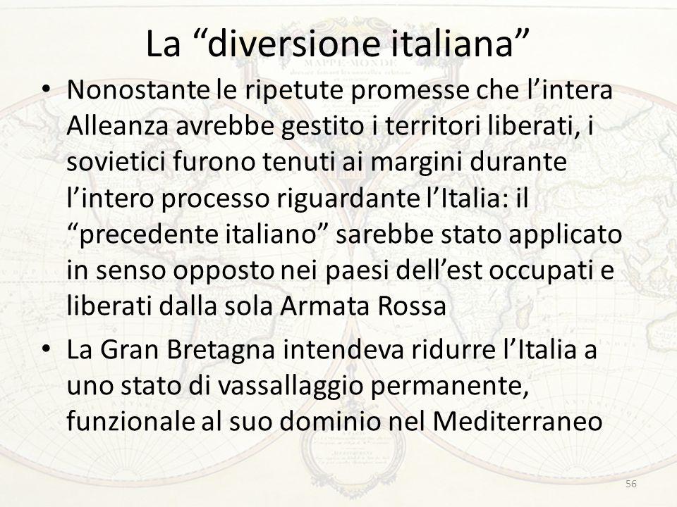 """La """"diversione italiana"""" Nonostante le ripetute promesse che l'intera Alleanza avrebbe gestito i territori liberati, i sovietici furono tenuti ai marg"""