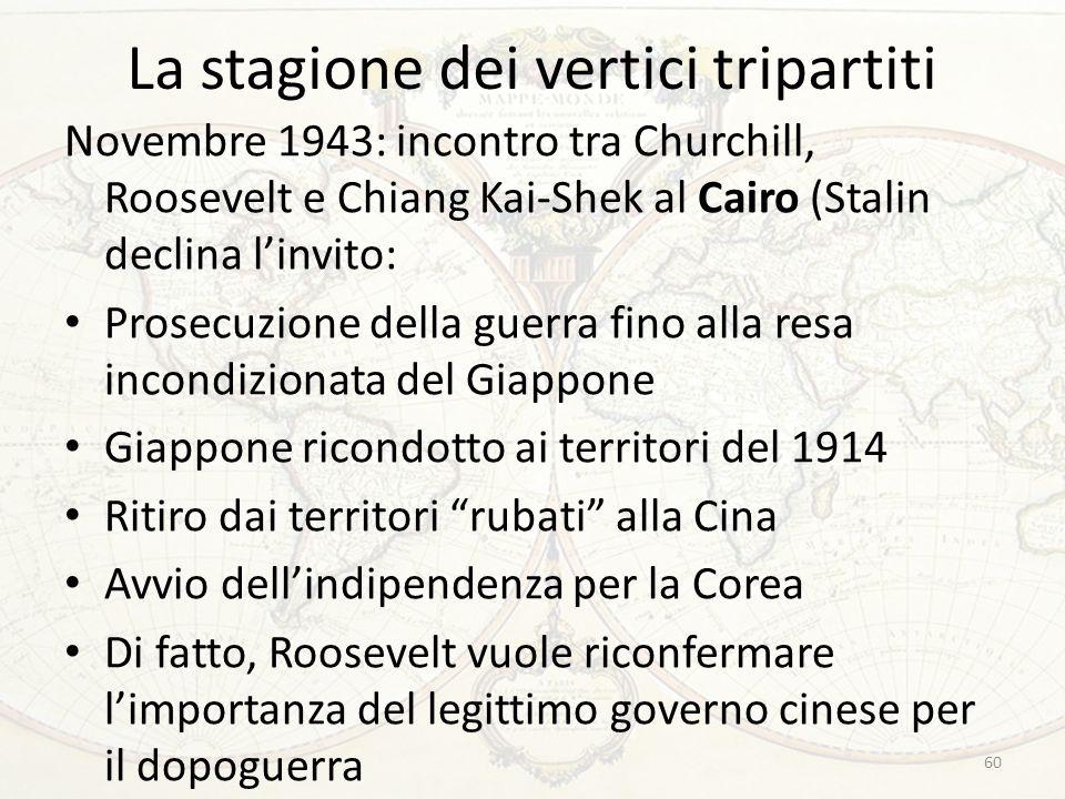 La stagione dei vertici tripartiti Novembre 1943: incontro tra Churchill, Roosevelt e Chiang Kai-Shek al Cairo (Stalin declina l'invito: Prosecuzione