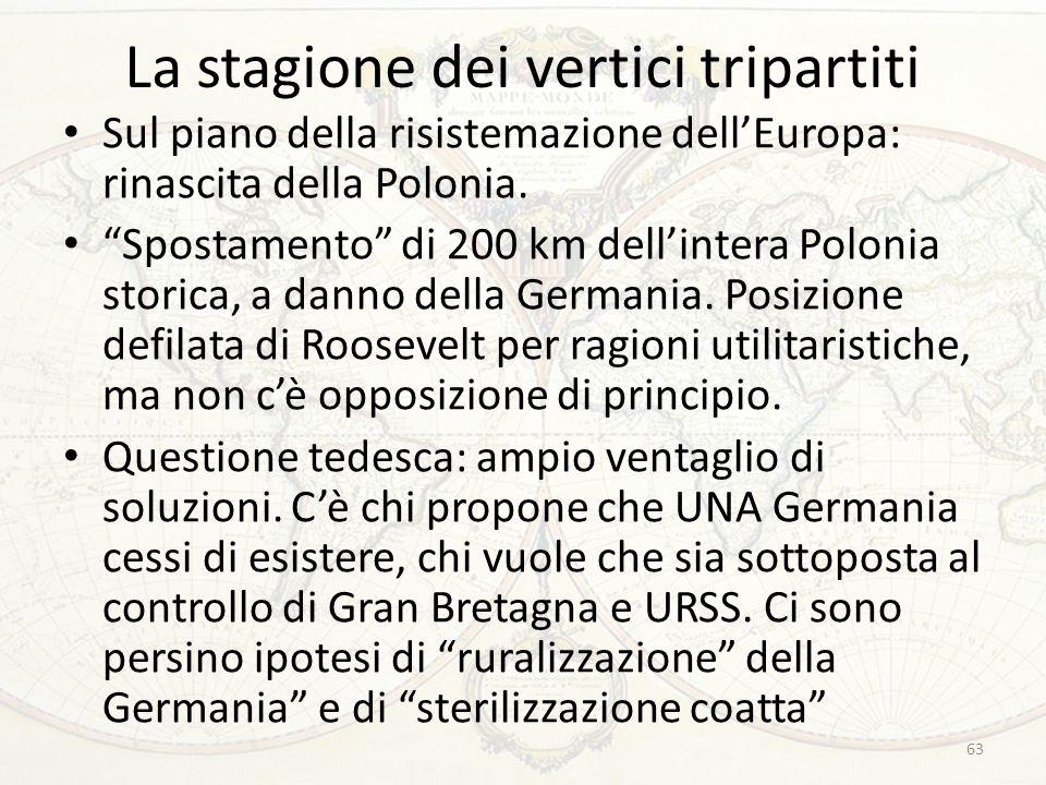 """La stagione dei vertici tripartiti Sul piano della risistemazione dell'Europa: rinascita della Polonia. """"Spostamento"""" di 200 km dell'intera Polonia st"""
