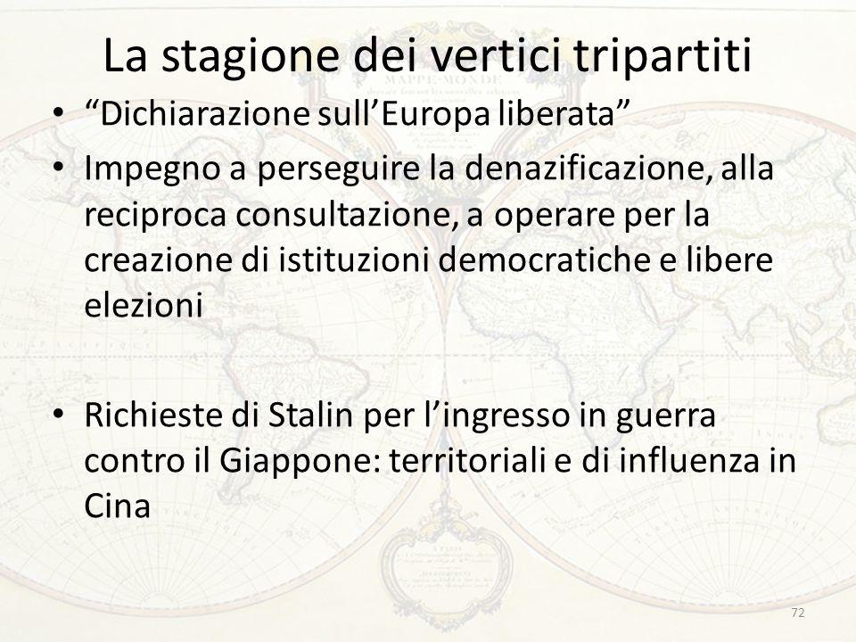 """La stagione dei vertici tripartiti """"Dichiarazione sull'Europa liberata"""" Impegno a perseguire la denazificazione, alla reciproca consultazione, a opera"""