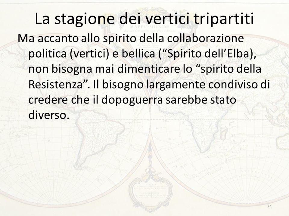 """La stagione dei vertici tripartiti Ma accanto allo spirito della collaborazione politica (vertici) e bellica (""""Spirito dell'Elba), non bisogna mai dim"""