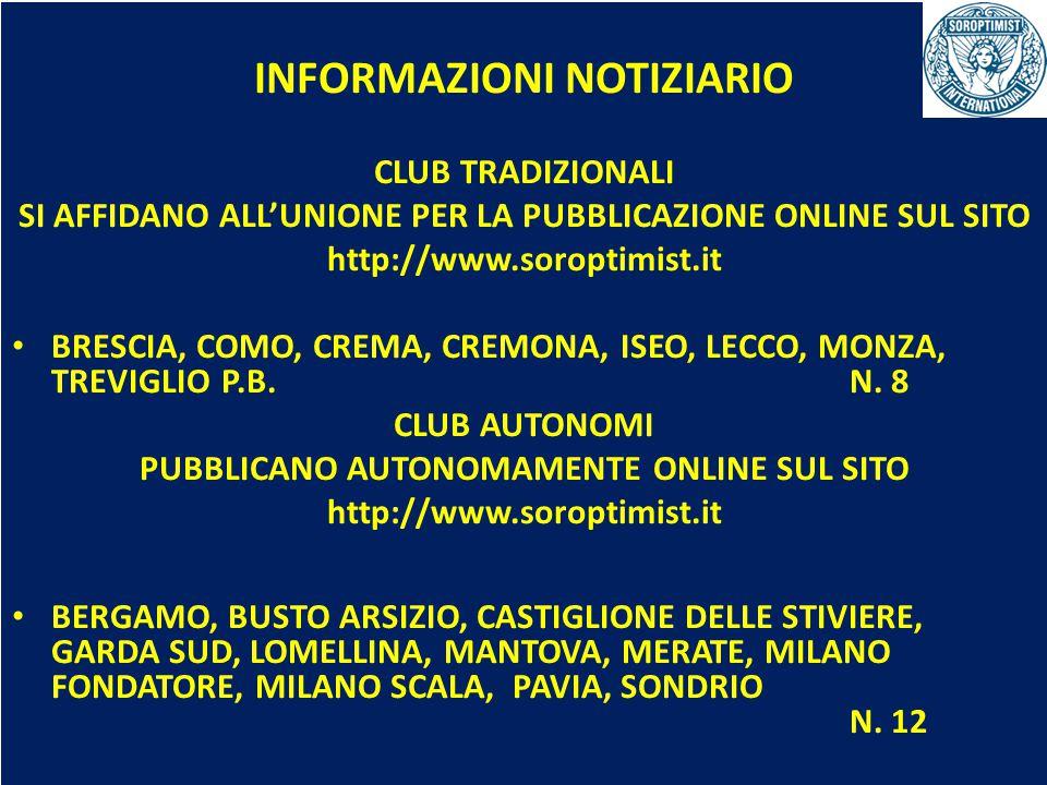 OBIETTIVI BIENNIO 2013-2015 INFORMAZIONI NOTIZIARIO CLUB TRADIZIONALI SI AFFIDANO ALL'UNIONE PER LA PUBBLICAZIONE ONLINE SUL SITO http://www.soroptimist.it BRESCIA, COMO, CREMA, CREMONA, ISEO, LECCO, MONZA, TREVIGLIOP.B.N.