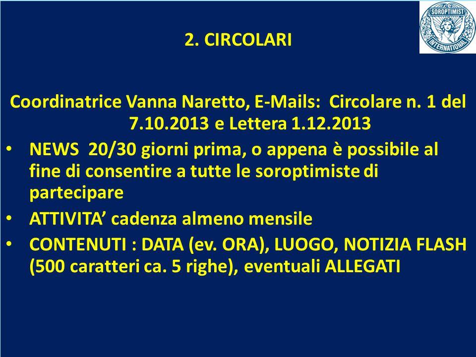 OBIETTIVI BIENNIO 2013-2015 2. CIRCOLARI Coordinatrice Vanna Naretto, E-Mails: Circolare n. 1 del 7.10.2013 e Lettera 1.12.2013 NEWS 20/30 giorni prim