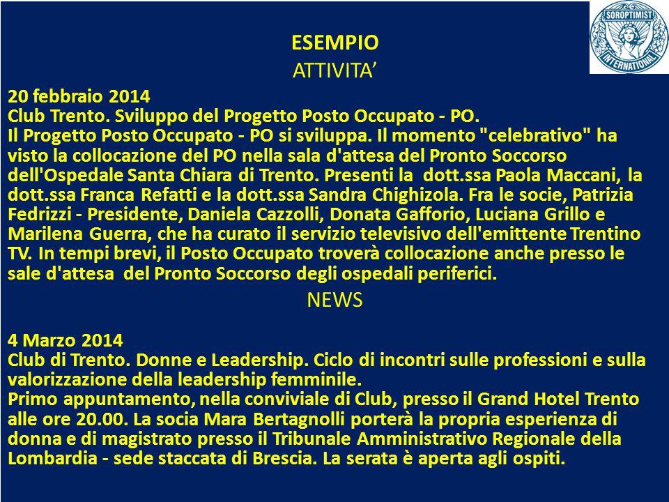 OBIETTIVI BIENNIO 2013-2015 ESEMPIO ATTIVITA' 20 febbraio 2014 Club Trento. Sviluppo del Progetto Posto Occupato - PO. Il Progetto Posto Occupato - PO
