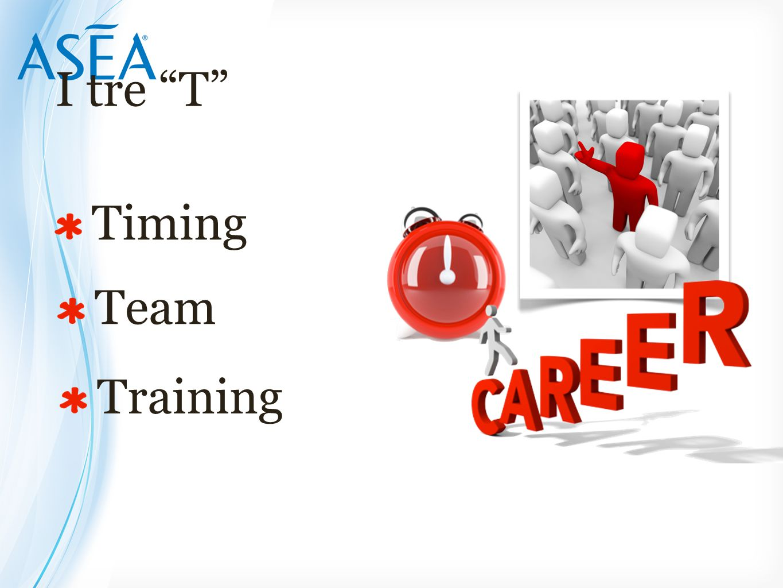 "I tre ""T"" Timing Team Training"