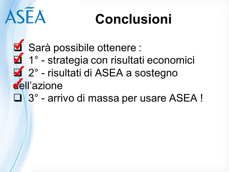 Conclusioni  Sarà possibile ottenere :  1° - strategia con risultati economici  2° - risultati di ASEA a sostegno dell'azione  3° - arrivo di mass