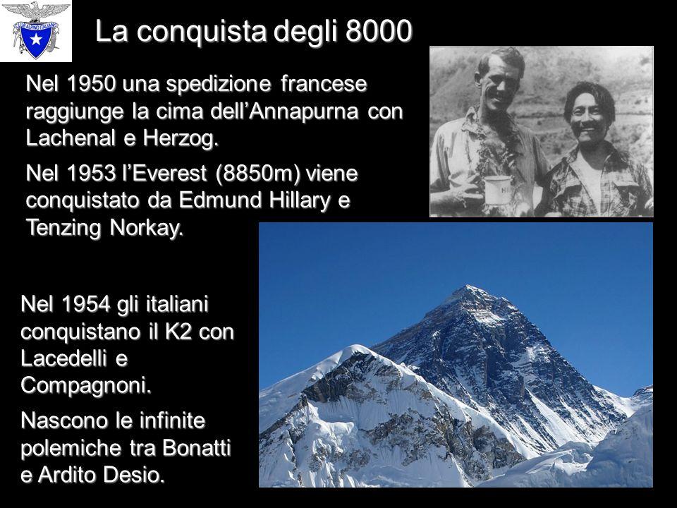 La conquista degli 8000 Nel 1950 una spedizione francese raggiunge la cima dell'Annapurna con Lachenal e Herzog.