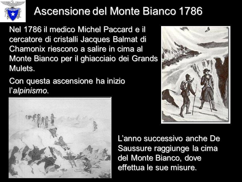 Nel 1786 il medico Michel Paccard e il cercatore di cristalli Jacques Balmat di Chamonix riescono a salire in cima al Monte Bianco per il ghiacciaio dei Grands Mulets.