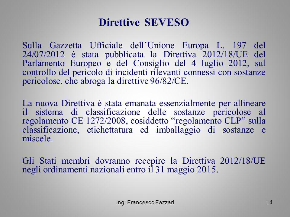 Ing. Francesco Fazzari14 Sulla Gazzetta Ufficiale dell'Unione Europa L. 197 del 24/07/2012 è stata pubblicata la Direttiva 2012/18/UE del Parlamento E