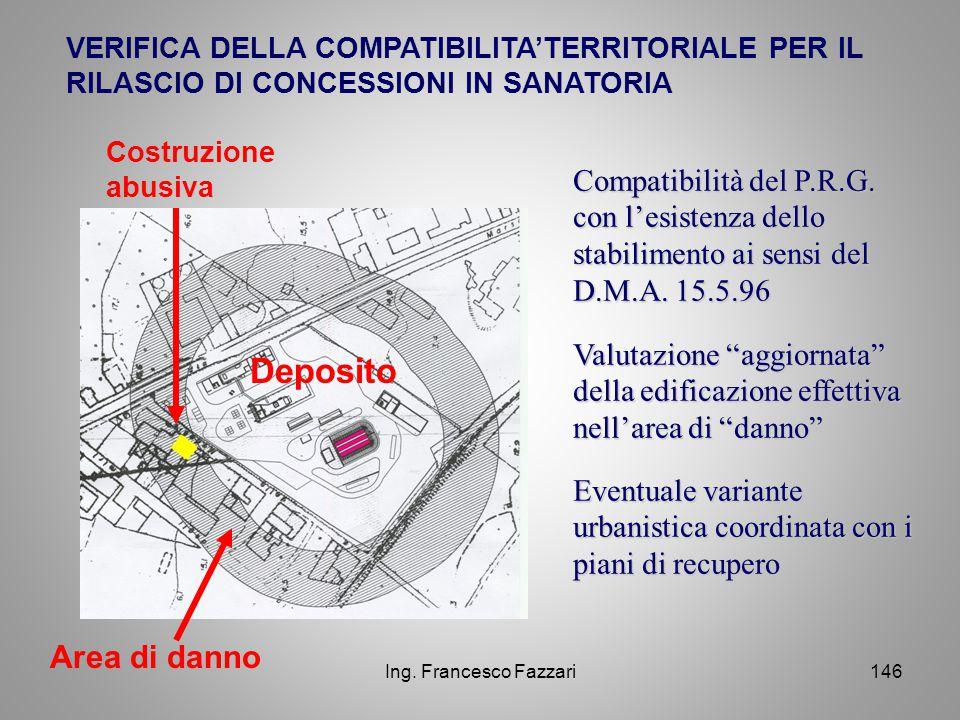 """Ing. Francesco Fazzari146 VERIFICA DELLA COMPATIBILITA'TERRITORIALE PER IL RILASCIO DI CONCESSIONI IN SANATORIA Valutazione """"aggiornata"""" della edifica"""