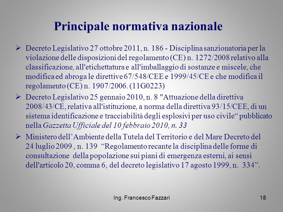  Decreto Legislativo 27 ottobre 2011, n. 186 - Disciplina sanzionatoria per la violazione delle disposizioni del regolamento (CE) n. 1272/2008 relati