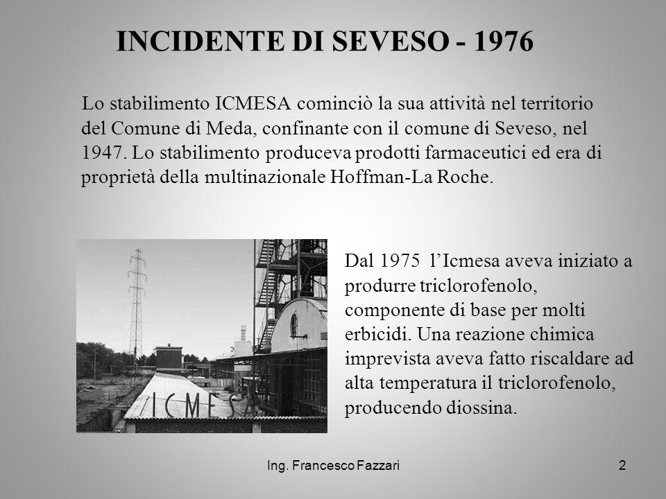 Ing. Francesco Fazzari2 Lo stabilimento ICMESA cominciò la sua attività nel territorio del Comune di Meda, confinante con il comune di Seveso, nel 194