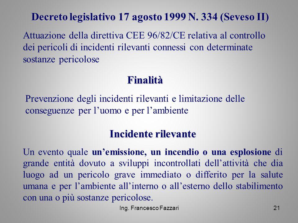 Ing. Francesco Fazzari21 Decreto legislativo 17 agosto 1999 N. 334 (Seveso II) Attuazione della direttiva CEE 96/82/CE relativa al controllo dei peric