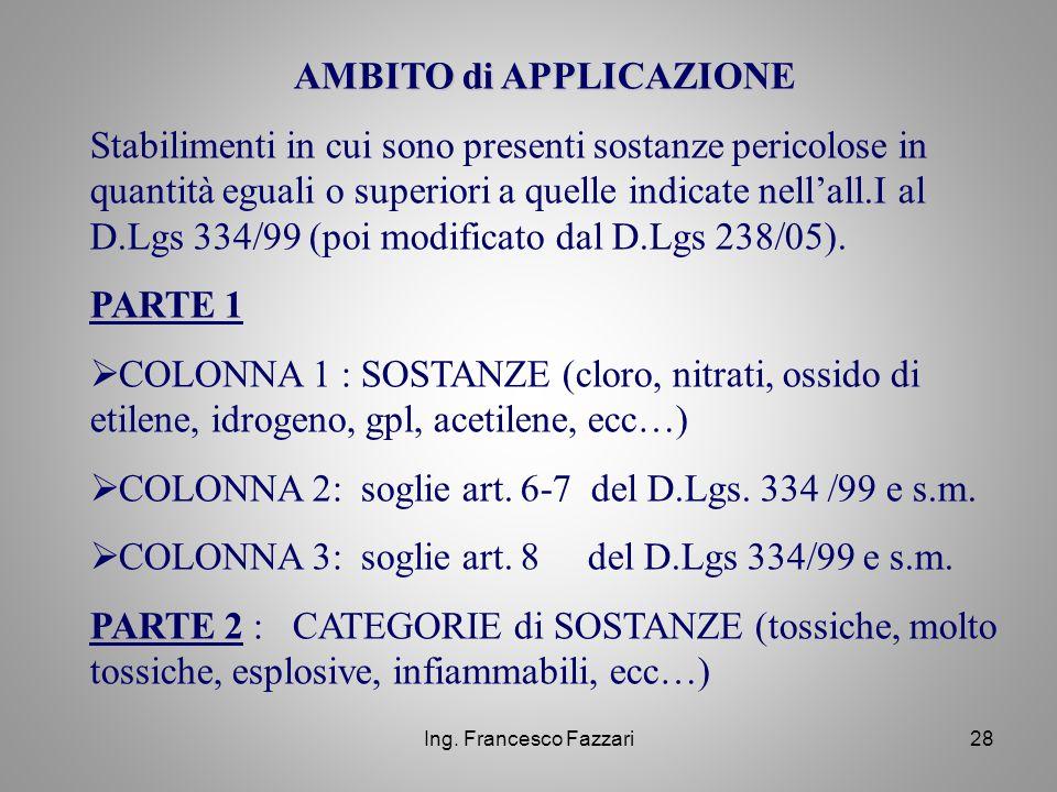 Ing. Francesco Fazzari28 AMBITO di APPLICAZIONE Stabilimenti in cui sono presenti sostanze pericolose in quantità eguali o superiori a quelle indicate