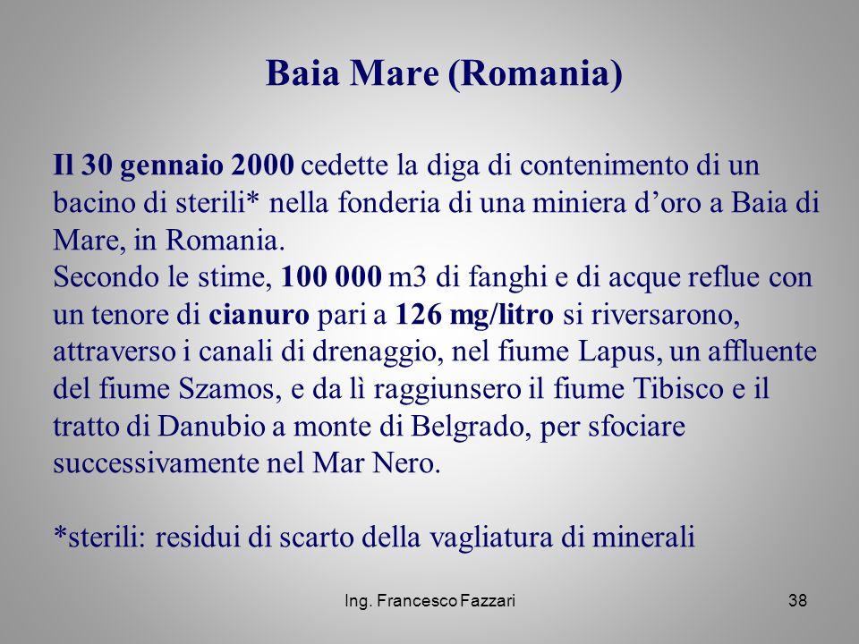 Ing. Francesco Fazzari38 Baia Mare (Romania) Il 30 gennaio 2000 cedette la diga di contenimento di un bacino di sterili* nella fonderia di una miniera