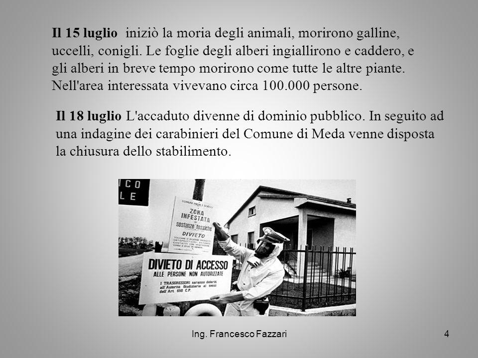 Ing. Francesco Fazzari4 Il 15 luglio iniziò la moria degli animali, morirono galline, uccelli, conigli. Le foglie degli alberi ingiallirono e caddero,