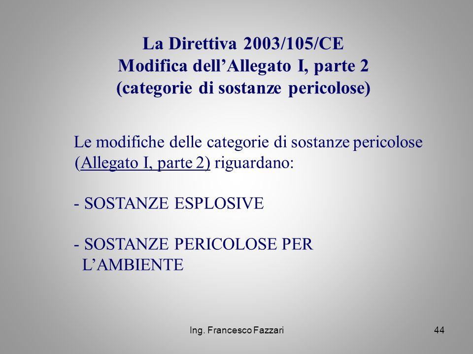 Ing. Francesco Fazzari44 La Direttiva 2003/105/CE Modifica dell'Allegato I, parte 2 (categorie di sostanze pericolose) Le modifiche delle categorie di