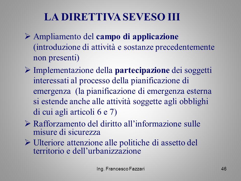 Ing. Francesco Fazzari46  Ampliamento del campo di applicazione (introduzione di attività e sostanze precedentemente non presenti)  Implementazione