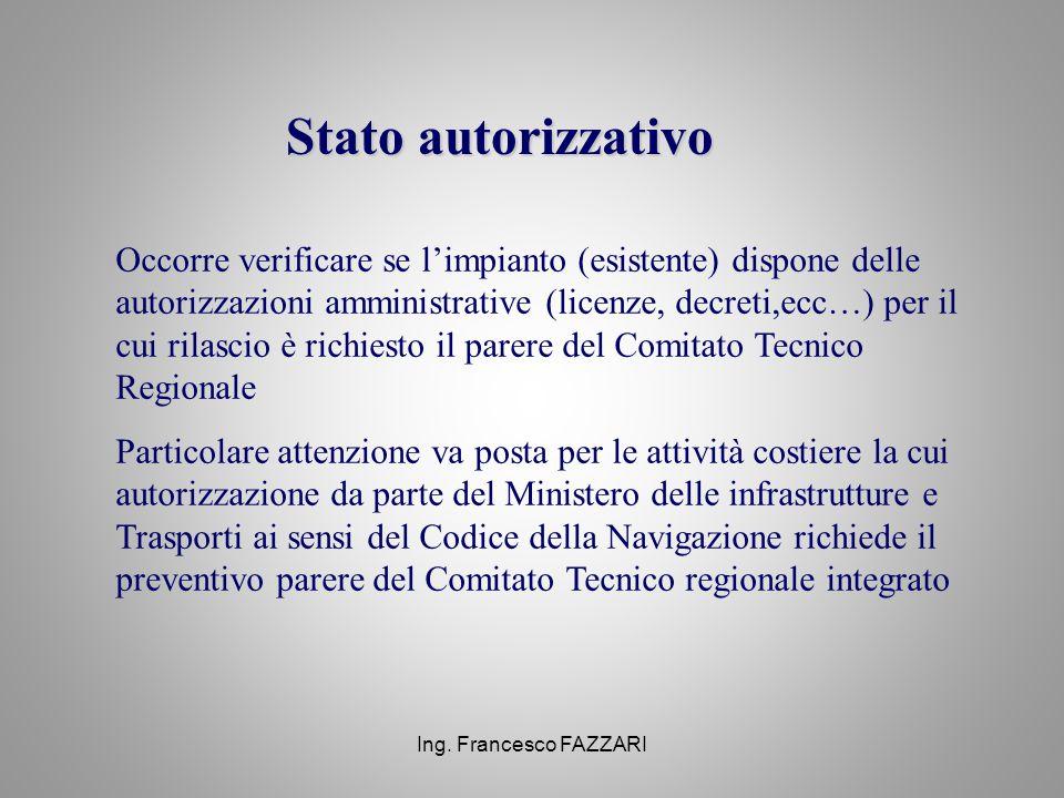 Ing. Francesco FAZZARI Stato autorizzativo Occorre verificare se l'impianto (esistente) dispone delle autorizzazioni amministrative (licenze, decreti,