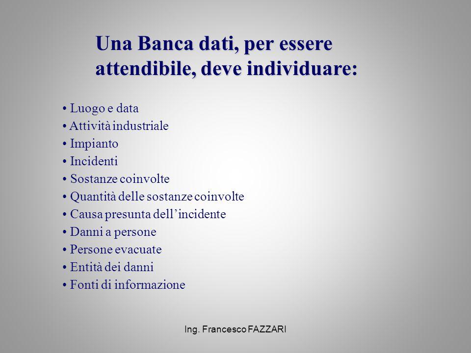 Ing. Francesco FAZZARI Una Banca dati, per essere attendibile, deve individuare: Luogo e data Attività industriale Impianto Incidenti Sostanze coinvol