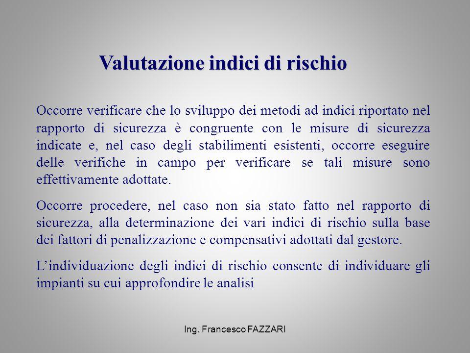 Ing. Francesco FAZZARI Valutazione indici di rischio Occorre verificare che lo sviluppo dei metodi ad indici riportato nel rapporto di sicurezza è con