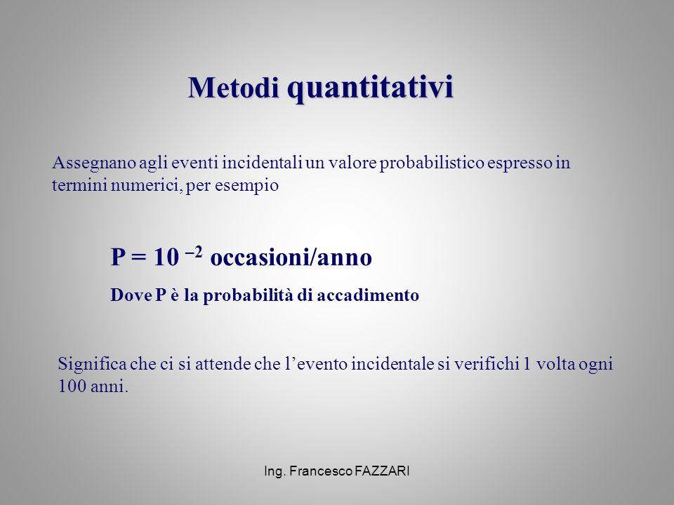 Ing. Francesco FAZZARI Metodi quantitativi Assegnano agli eventi incidentali un valore probabilistico espresso in termini numerici, per esempio P = 10