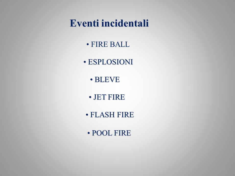 Eventi incidentali FIRE BALL ESPLOSIONI ESPLOSIONI BLEVE BLEVE JET FIRE JET FIRE FLASH FIRE FLASH FIRE POOL FIRE POOL FIRE