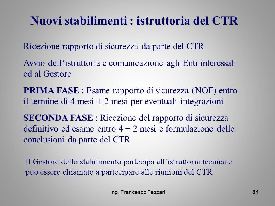 Ing. Francesco Fazzari84 Nuovi stabilimenti : istruttoria del CTR Ricezione rapporto di sicurezza da parte del CTR Avvio dell'istruttoria e comunicazi