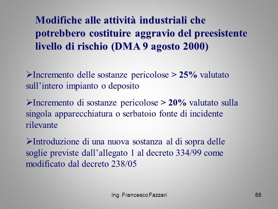 Ing. Francesco Fazzari86 Modifiche alle attività industriali che potrebbero costituire aggravio del preesistente livello di rischio (DMA 9 agosto 2000