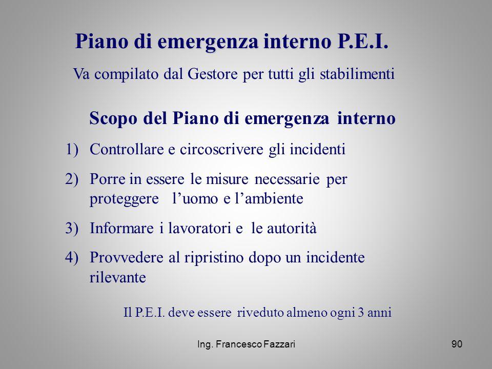 Ing. Francesco Fazzari90 Piano di emergenza interno P.E.I. Va compilato dal Gestore per tutti gli stabilimenti Scopo del Piano di emergenza interno 1)