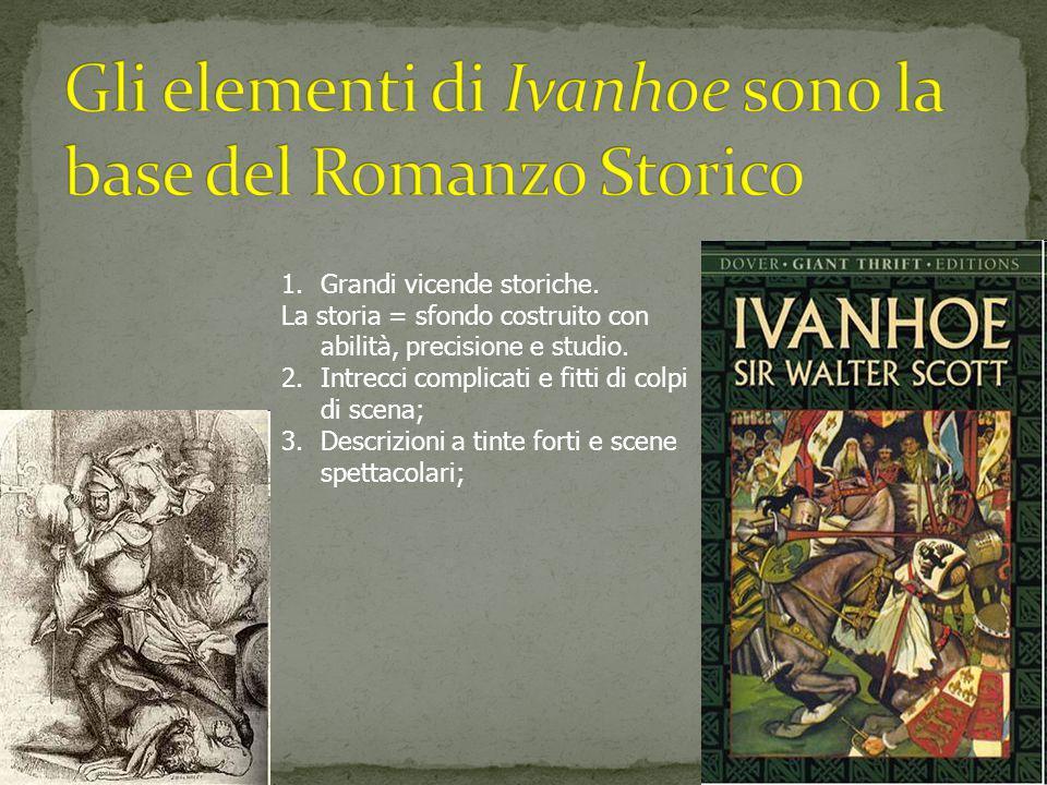 1.Grandi vicende storiche. La storia = sfondo costruito con abilità, precisione e studio. 2.Intrecci complicati e fitti di colpi di scena; 3.Descrizio