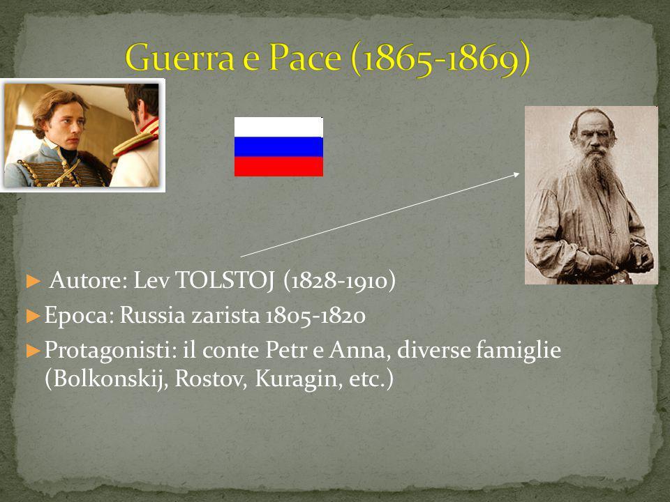 ► Autore: Lev TOLSTOJ (1828-1910) ► Epoca: Russia zarista 1805-1820 ► Protagonisti: il conte Petr e Anna, diverse famiglie (Bolkonskij, Rostov, Kuragin, etc.)