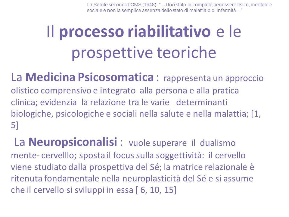Il processo riabilitativo e le prospettive teoriche La Medicina Psicosomatica : rappresenta un approccio olistico comprensivo e integrato alla persona e alla pratica clinica; evidenzia la relazione tra le varie determinanti biologiche, psicologiche e sociali nella salute e nella malattia; [1, 5] La Neuropsiconalisi : vuole superare il dualismo mente- cervelllo; sposta il focus sulla soggettività: il cervello viene studiato dalla prospettiva del Sé; la matrice relazionale è ritenuta fondamentale nella neuroplasticità del Sé e si assume che il cervello si sviluppi in essa [ 6, 10, 15] La Salute secondo l'OMS (1948): …Uno stato di completo benessere fisico, mentale e sociale e non la semplice assenza dello stato di malattia o di infermità…