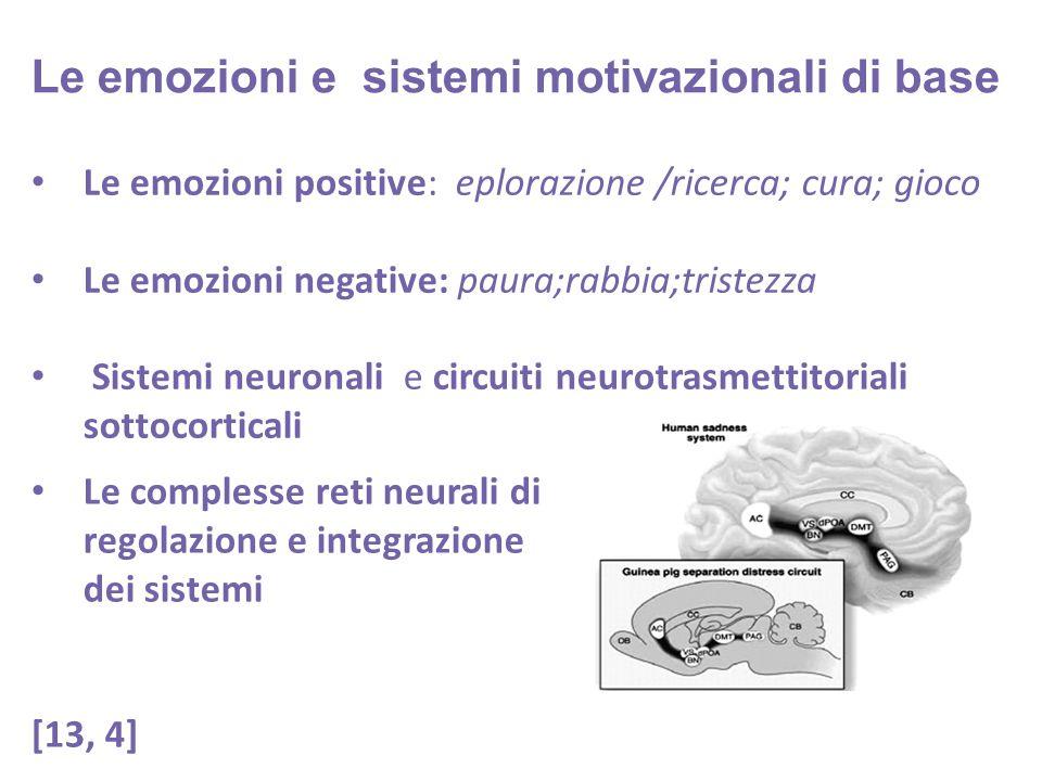 Le emozioni positive: eplorazione /ricerca; cura; gioco Le emozioni negative: paura;rabbia;tristezza Sistemi neuronali e circuiti neurotrasmettitoriali sottocorticali Le emozioni e sistemi motivazionali di base Le complesse reti neurali di regolazione e integrazione dei sistemi [13, 4]